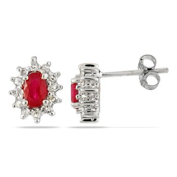 14K WG Ruby and Diamond All Purpose Earring