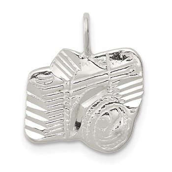 Sterling Silver Diamond Cut Camera Charm