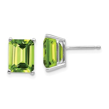 14k White Gold 9x7mm Emerald Cut Peridot Earrings