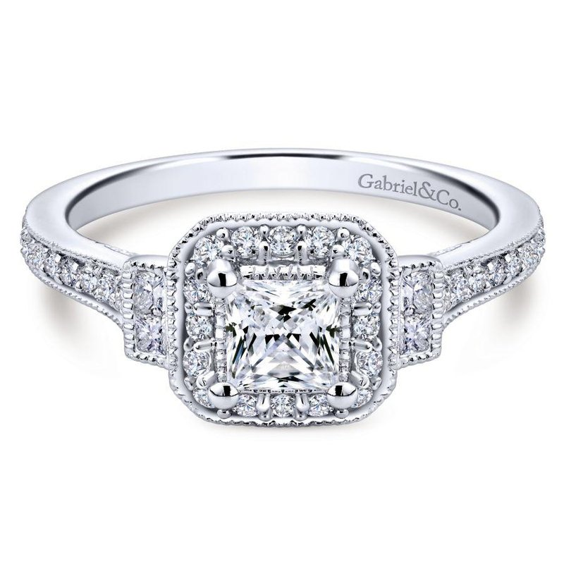 Gabriel Bridal Bestsellers Vintage 14K White Gold Princess Halo Diamond Engagement Ring