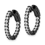 Quality Gold Sterling Silver Black-plated CZ In & Out Hoop Earrings
