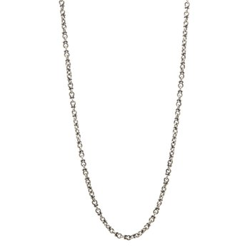 Silver Round Chain Necklace with Granulations