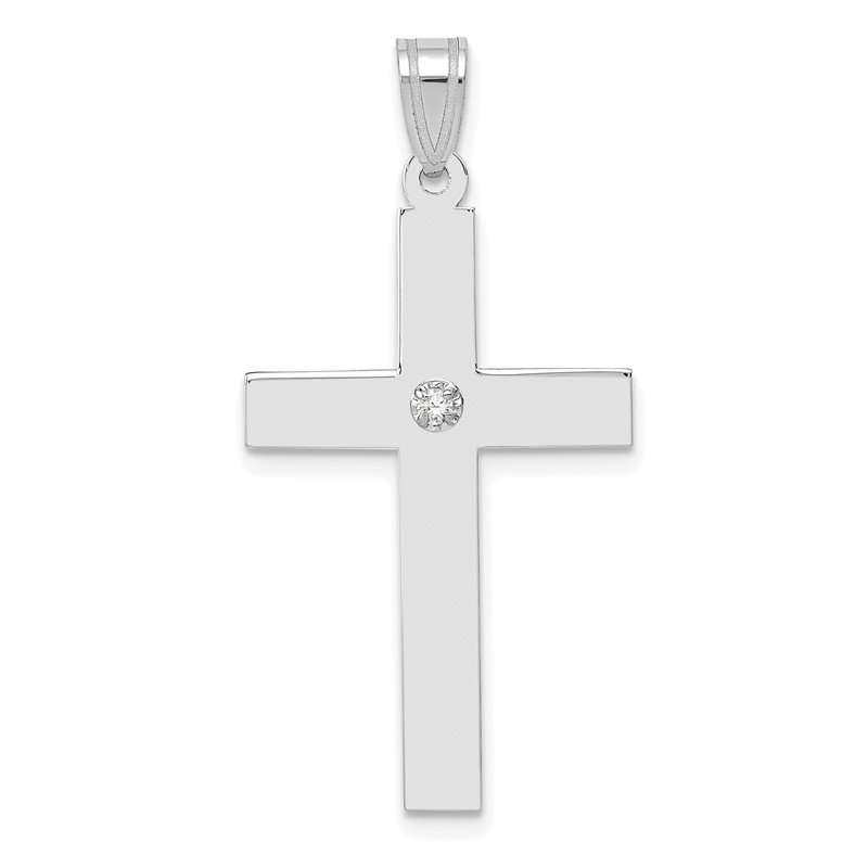 Quality Gold 14k White Gold .02ct. Diamond Cross Pendant