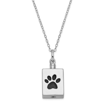 Sterling Silver Antiqued Black Paw Ash Holder 18in. Necklace
