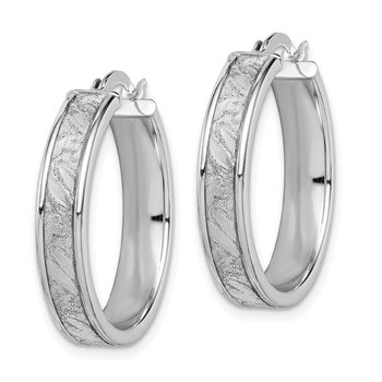 Sterling Silver Rhodium-plated Diamond Cut Hoop Earrings