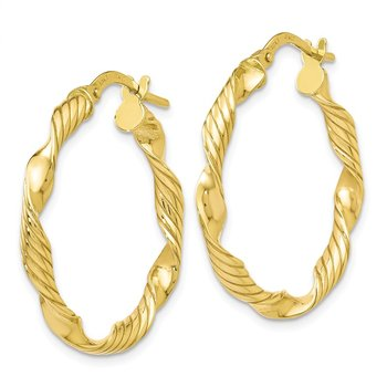Leslie's 10K Polished and Textured Twisted Hoop Earrings