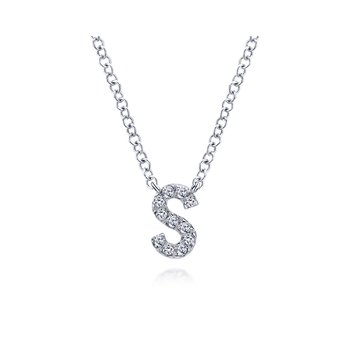 "14K White Gold ""S"" Initial Diamond Necklace"