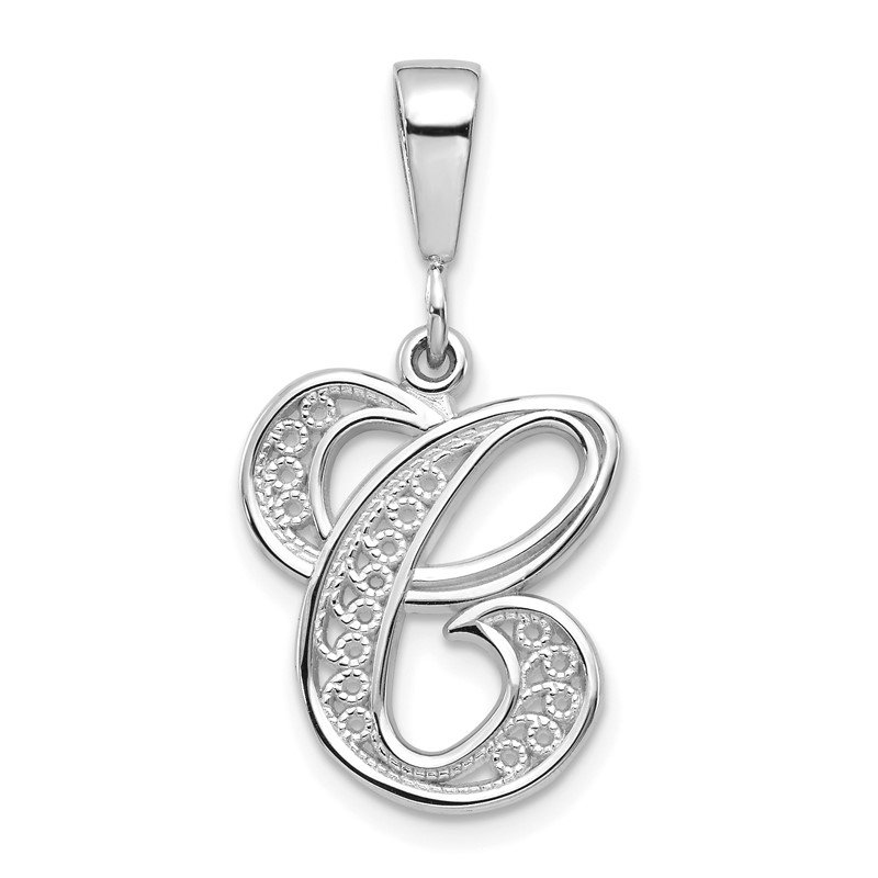Quality Gold 14KW White Gold Solid Polished Script Filigree Letter C Initial Pendant