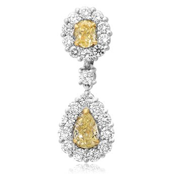 White & Yellow Diamond Drop Earrings