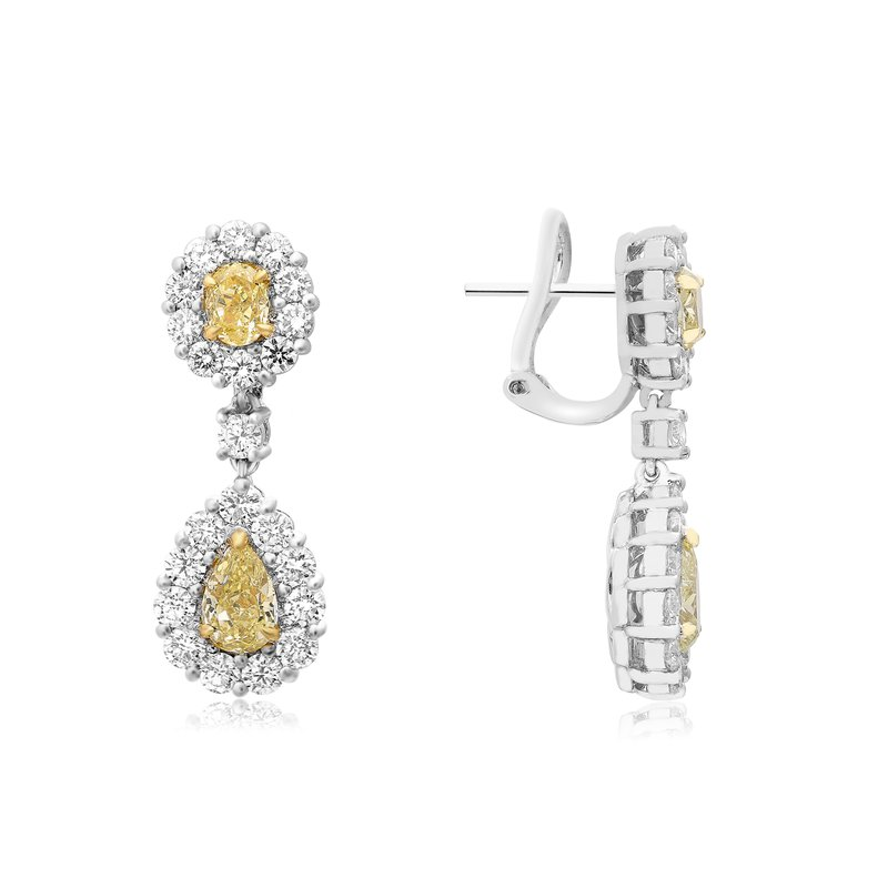 Roman & Jules White & Yellow Diamond Drop Earrings