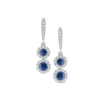 Blue Sapphire & Diamond Earrings Set in 14 Kt. Gold
