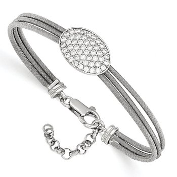 Leslie's Sterling Silver CZ Polished Bracelet w/1in ext.
