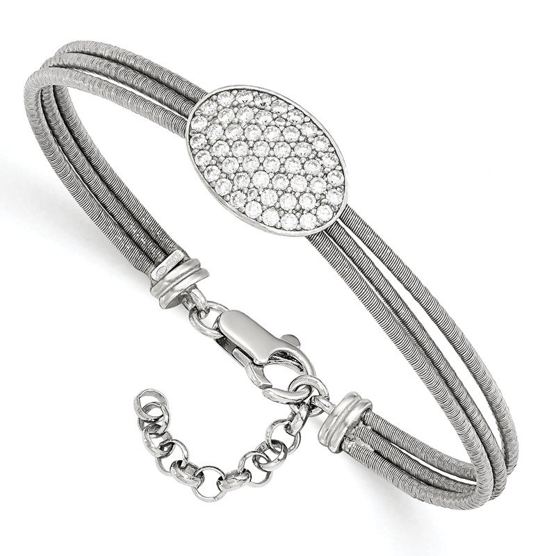 Leslie's Leslie's Sterling Silver CZ Polished Bracelet w/1in ext.