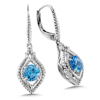 Sterling Silver Blue Topaz Leverback Earrings