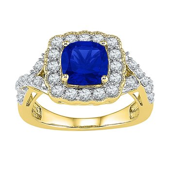 10kt Yellow Gold Womens Princess Lab-Created Blue Sapphire Solitaire Ring 3-3/4 Cttw