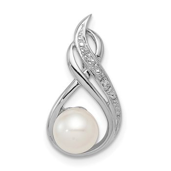Sterling Silver Rhod Plated Diamond and FW Cultured Pearl Chain Slide