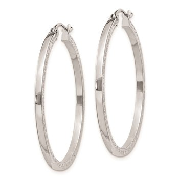 Sterling Silver Rhodium-plated Diamond-cut 2x35mm Square Tube Hoop Earrings