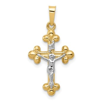 14k Two-tone Polished Budded INRI Crucifix Pendant