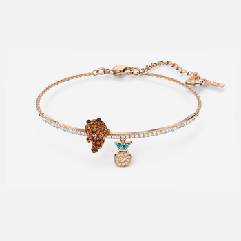 Line Friend Skate Bangle, Dark multi-colored, Rose-gold tone plated