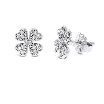 Diamond Clover Earrings in 14k White Gold with 32 Diamonds weighing .28ct tw.