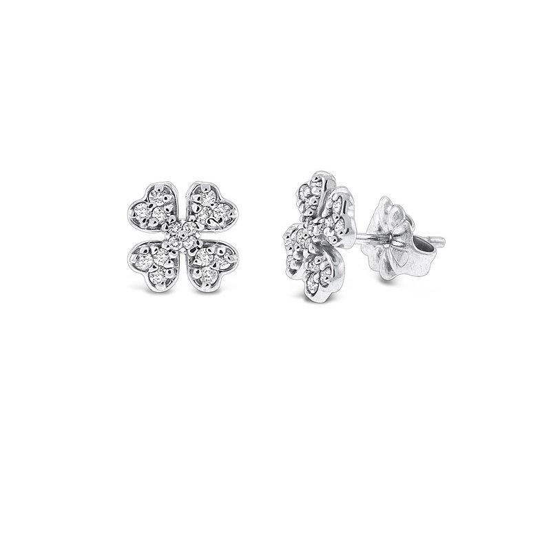 KC Designs Diamond Clover Earrings in 14k White Gold with 32 Diamonds weighing .28ct tw.