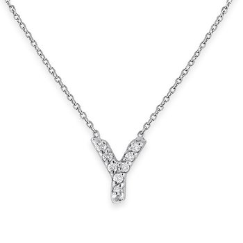 Diamond Bitty Block Initial Y Necklace