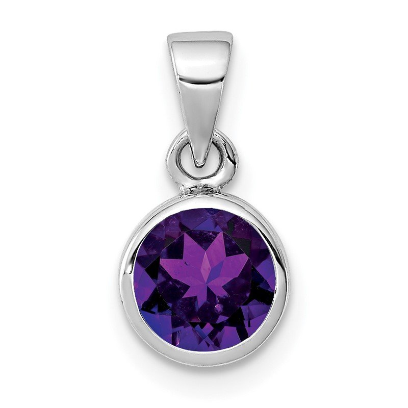 Quality Gold Sterling Silver Rhodium-plated Polished Amethyst Round Pendant