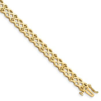 14K Polished Criss Cross Bracelet
