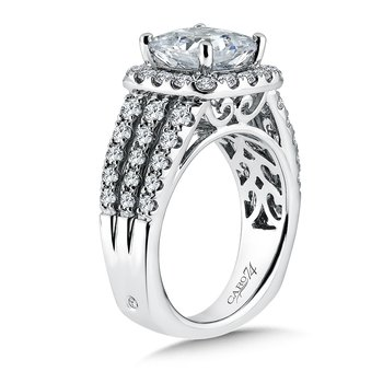 Halo Engagement Ring with Cushion-Shape Center and Side Stones in 14K White Gold (1-1/4ct. tw.)