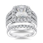 Caro74 Halo Engagement Ring with Cushion-Shape Center and Side Stones in 14K White Gold (1-1/4ct. tw.)