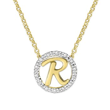"Gold and Diamond Mini Halo ""R"" Initial Necklace"