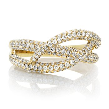Yellow Gold & Diamond Overlapping Ring