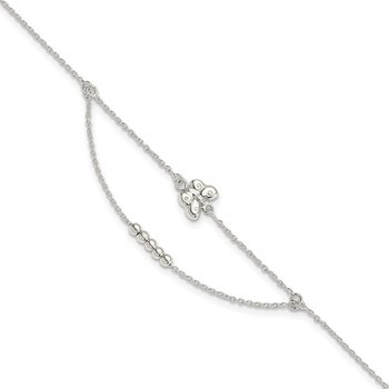 Sterling Silver Polished 9in Plus 1in Ext Butterfly Anklet