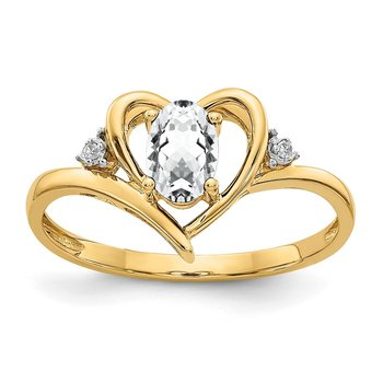 14k White Topaz and Diamond Heart Ring