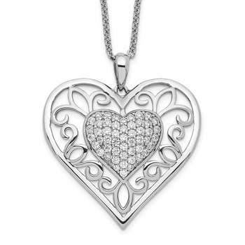 Sterling Silver Antiqued CZ To My Daughter 18in Heart Necklace