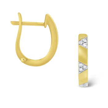 Diamond Mini Hoops Set in 14 Kt. Gold