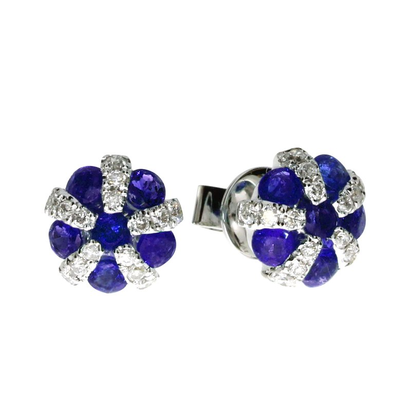 Color Merchants 14k White Gold Sapphire and Diamond Ball Earrings