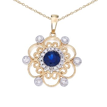 14k Two-Tone Sapphire and Diamond Filigree Pendant