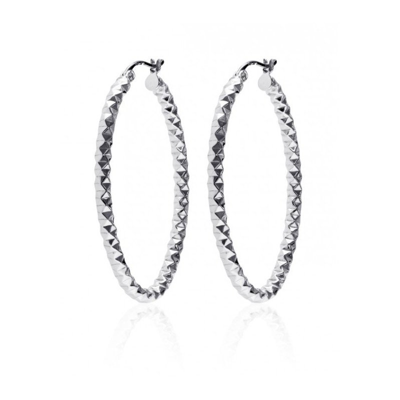 LARUS Jewelry Faceted Oval Hoop Earrings