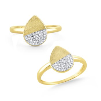 14 Kt. Brushed Gold & Diamond Teardrop Disc Ring