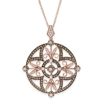 Champagne and White Diamond Medallion Necklace  in 14K Rose Gold with 187 Diamonds Weighing  1.03ct tw