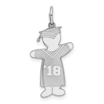 Sterling Silver Rhodium-plated Class of 2018 Boy Cuddle Charm