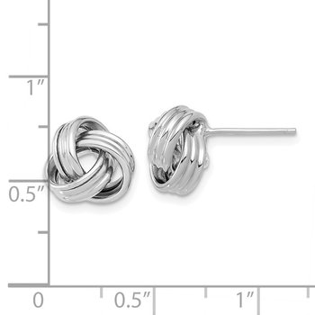 14k White Gold Polished Love Knot Post Earrings