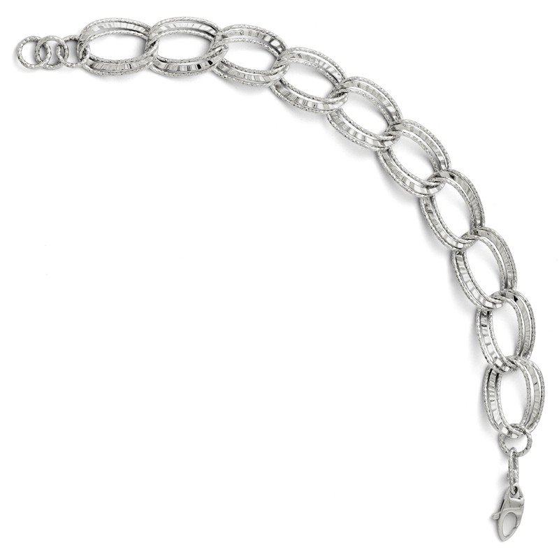 Leslie's Leslies 14k White Gold Polished & Diamond-cut Link Bracelet