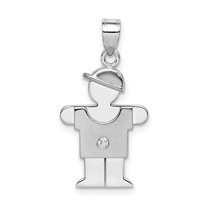 Quality Gold 14k White Gold AA Diamond Kid Pendant