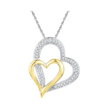10kt White Gold Womens Round Diamond Two-tone Double Heart Pendant 1/8 Cttw