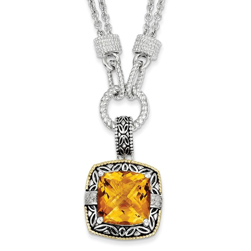Shey Couture Sterling Silver w/14k Citrine & Diamond Necklace
