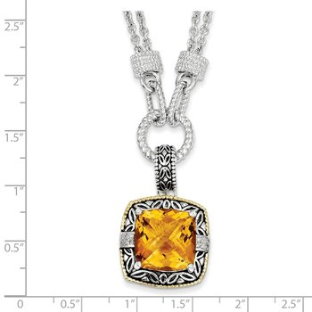 Sterling Silver w/14k Citrine & Diamond Necklace