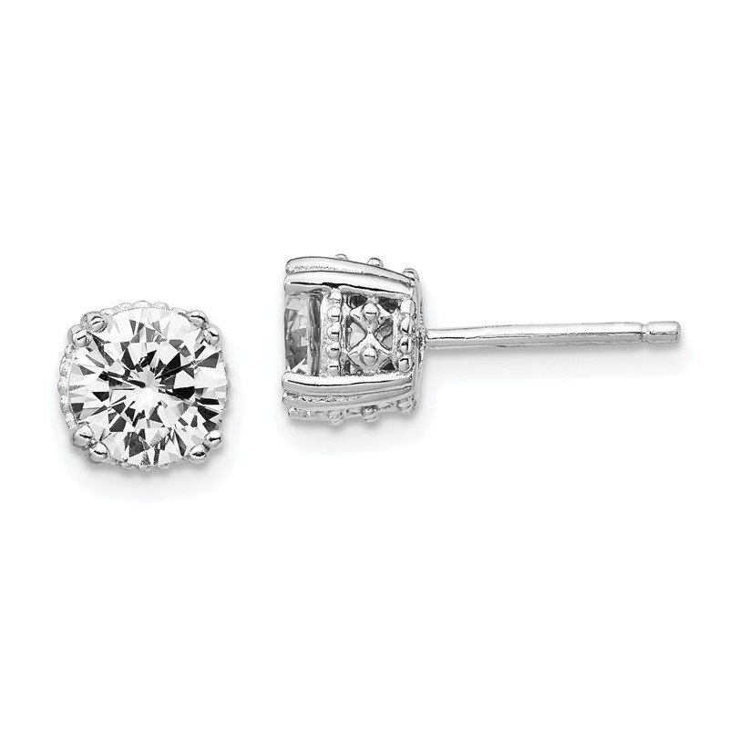 Cheryl M Cheryl M Sterling Silver Rhodium-plated Round 6.5mm CZ Stud Earrings
