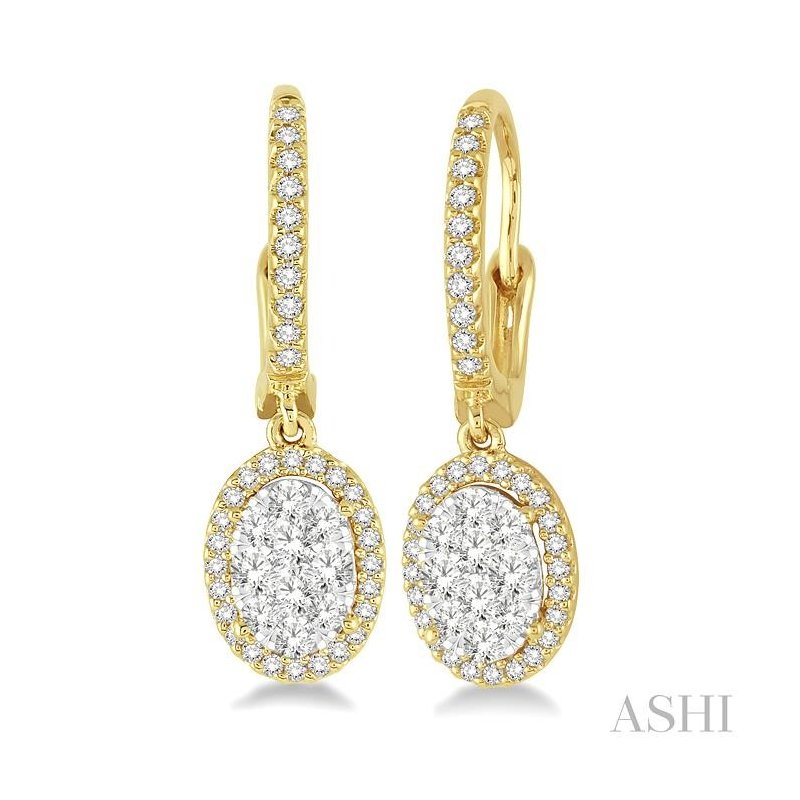 Gemstone Collection oval shape lovebright diamond earrings